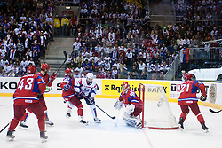 Andrej Hebar of Slovenia scores a goal during ice-hockey match between Russia and Slovenia of Group A of IIHF 2011 World Championship Slovakia, on May 1, 2011 in Orange Arena, Bratislava, Slovakia. (Photo by Matic Klansek Velej / Sportida)
