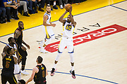 Golden State Warriors forward Kevin Durant (35) shoots a jumper against the Cleveland Cavaliers during Game 1 of the NBA Finals at Oracle Arena in Oakland, Calif., on May 31, 2018. (Stan Olszewski/Special to S.F. Examiner)