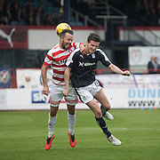 Hamilton&rsquo;s Dougie Imrie and Dundee&rsquo;s Paul McGinn challenge for a cross into the box  - Dundee v Hamilton Academical, Ladbrokes Scottish Premiership at Dens Park<br /> <br /> <br />  - &copy; David Young - www.davidyoungphoto.co.uk - email: davidyoungphoto@gmail.com