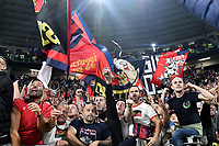 Genoa fans celebrate at the end of the Serie A 2018/2019 football match between Juventus and Genoa CFC at Allianz Stadium, Turin, October, 20, 2018 <br />  Foto Andrea Staccioli / Insidefoto