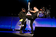 Three Days Grace performing at the Blossom Music Center in Cuyahoga Falls, Ohio on the Rockstar Energy Drink Uproar Tour on September 21, 2011