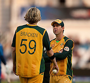 Captain Ricky Ponting talks to bowler Nathan Bracken during the ICC World Twenty20 Cup match between Australia and Sri Lanka at Trent Bridge, Nottingham. Photo © Graham Morris (Tel: +44(0)20 8969 4192 Email: sales@cricketpix.com)