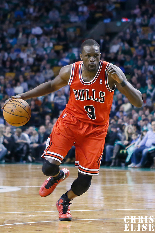 13 February 2013: Chicago Bulls small forward Luol Deng (9) drives to the basket during the Boston Celtics 71-69 victory over the Chicago Bulls at the TD Garden, Boston, Massachusetts, USA.
