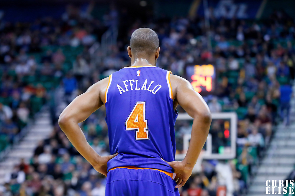 09 December 2015: New York Knicks guard Arron Afflalo (4) rests during the Utah Jazz 106-85 victory over the New York Knicks, at the Vivint Smart Home Arena, Salt Lake City, Utah, USA.