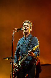 © Licensed to London News Pictures. 01/09/2018. Bristol, UK. The Downs Festival on The Downs in Bristol. Picture of NOEL GALLAGHER'S HIGH FLYING BIRDS on the main stage. The one day festival is taking place for the third year and features headliners Noel Gallagher's High Flying Birds, Paul Weller, and Orbital. Photo credit: Simon Chapman/LNP