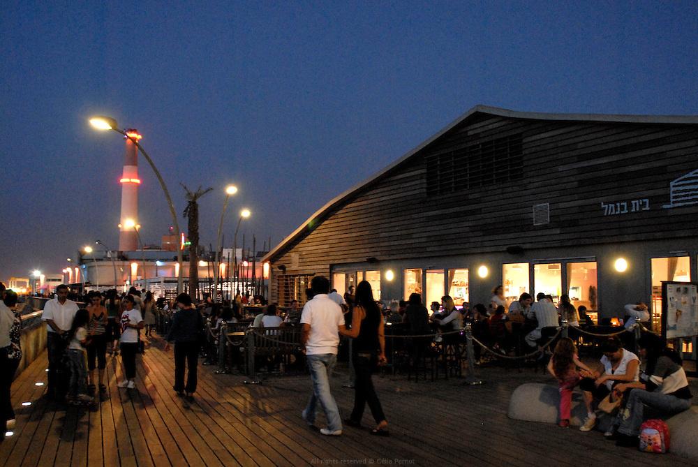 the popular deck of Tel Aviv's port at dusk