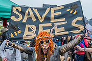 Save the Bees on Waterloo bridge -  Day 2 - Protestors from Extinction Rebellion block several (Hyde Park, Oxford Cuircus, Warterloo Bridge and Parliament Square) junctions in London as part of their ongoing protest to demand action by the UK Government on the 'climate chrisis'. The action is part of an international co-ordinated protest.