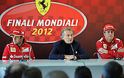 02.DECEMBER.2012. CHESTE<br /> <br /> FERRARI CHALLENGE FINALS IN CHESTE FERNANDO ALONSO OF SPAIN IN PRESS CONFERENCE DURING THE FERRARI CHALLENGE OF THE FINALI MONDIALI AT THE RICARDO TORMO. <br /> <br /> BYLINE: EDBIMAGEARCHIVE.CO.UK<br /> <br /> *THIS IMAGE IS STRICTLY FOR UK NEWSPAPERS AND MAGAZINES ONLY*<br /> *FOR WORLD WIDE SALES AND WEB USE PLEASE CONTACT EDBIMAGEARCHIVE - 0208 954 5968*