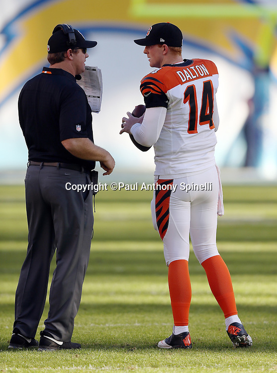 Cincinnati Bengals quarterback Andy Dalton (14) talks to Cincinnati Bengals offensive coordinator Jay Gruden during the NFL week 13 football game against the San Diego Chargers on Sunday, Dec. 1, 2013 in San Diego. The Bengals won the game 17-10. ©Paul Anthony Spinelli