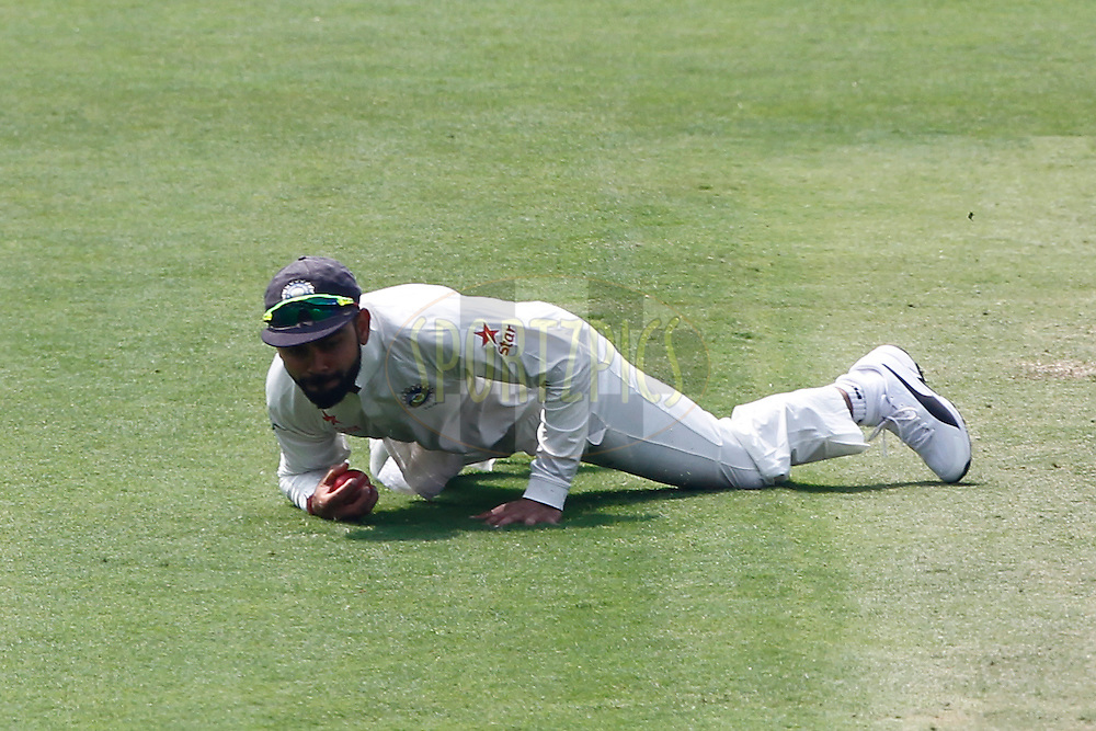 Virat Kohli Captain of India in action during day two of the second test match between India and Australia held at the M Chinnaswamy Stadium in Bangalore on the 5th March 2017. <br /> <br /> Photo by: Deepak Malik / BCCI/ SPORTZPICS