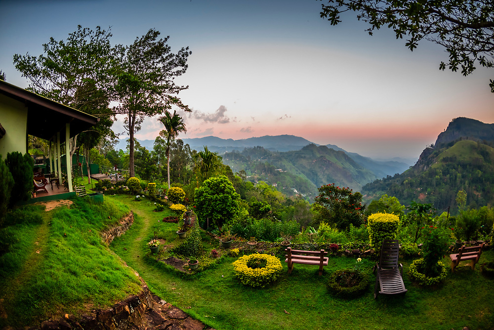 View of Ella Rock and the Ella Gap from the Ambiente Guest House, Ella, Uva Province, Sri Lanaka.