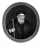 John Wycliffe (c13291384) English religious reformer.  Leader of the Lollards (Mumblers).  Questioned doctrine of transubstantiation. Organised translation of Bible into English.  Precursor of Protestant Reformation. Engraving 1851.