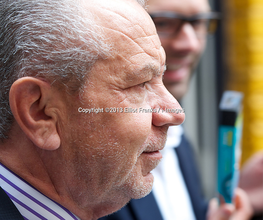 Nipper Clipper Launch<br /> Lord Alan Sugar with Apprentice (UK) winner Tom Pellereau  as they launch their latest product - the Nipper Clipper - in Neal's Yard, Covent Garden, London, Great Britain <br /> Tuesday, 18th June 2013<br /> Picture by Elliot Franks / i-Images