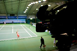 OSLO, NORWAY - Saturday, December 19, 2009: A television camera follows Johanna Larsson (SWE) during the Ladies' Final at the NRP Rubik Nordic Masters 2009 tournament at the Riksanlegget. (Pic by David Rawcliffe/Propaganda)
