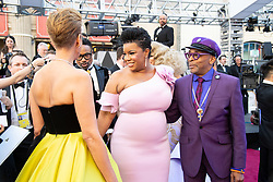 Tonya Lewis Lee; Oscar® nominee, Spike Lee (R); and guest arrive on the red carpet of The 91st Oscars® at the Dolby® Theatre in Hollywood, CA on Sunday, February 24, 2019.