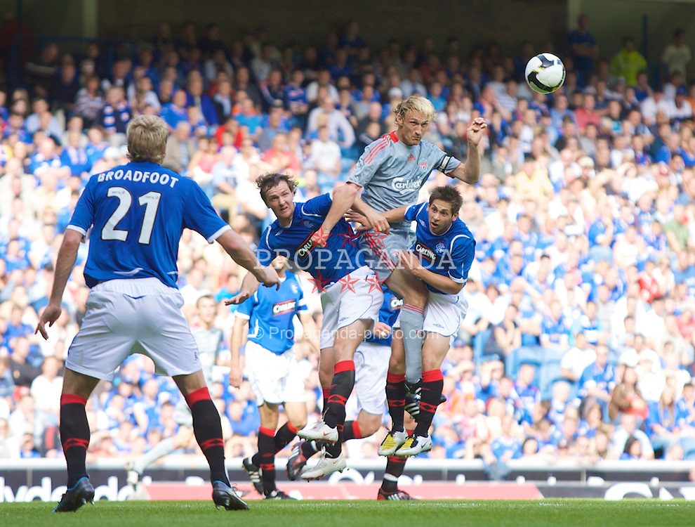 GLASGOW, SCOTLAND - Saturday, August 2, 2008: Liverpool's Sami Hyypia in action against Rangers during a pre-season friendly match at Ibrox Stadium. (Photo by David Rawcliffe/Propaganda)