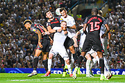 Leeds United defender Ben White (5) rises above a melee of players during the EFL Cup match between Leeds United and Stoke City at Elland Road, Leeds, England on 27 August 2019.