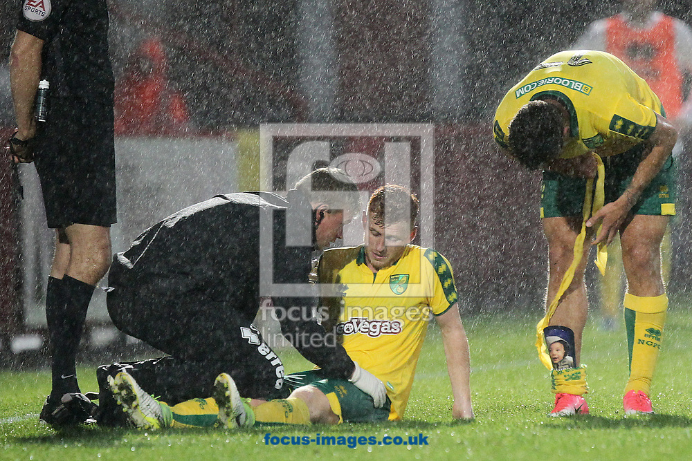 Harrison Reed of Norwich is injured and has to leave the match during the Pre-season Friendly match at the Lamex Stadium, Stevenage<br /> Picture by Paul Chesterton/Focus Images Ltd +44 7904 640267<br /> 11/07/2017