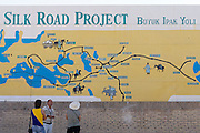 Uzbekistan, Khiva. West gate. Silk Road Information Billboard.
