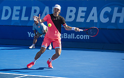 February 22, 2018 - Delray Beach, FL, United States - Delray Beach, FL - February 22: Denis Shapovalov (CAN) defeats Jared Donaldson (USA) 67(6) 64 64 at the 2018 Delray Beach Open held at the Delray Beach Tennis Center in Delray Beach, Florida.   Credit: Andrew Patron/Zuma Wire (Credit Image: © Andrew Patron via ZUMA Wire)