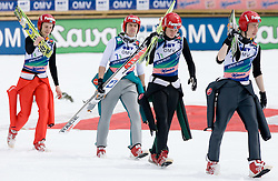 Third team of Finland, from L: OLLI Harri, HAUTAMAEKI Matti, MUOTKA Olli and HAPPONEN Janne before medal ceremony after Flying Hill Team Second Round at 4th day of FIS Ski Flying World Championships Planica 2010, on March 21, 2010, Planica, Slovenia.  (Photo by Vid Ponikvar / Sportida)