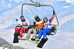 HERHNANDEWZ Cecile, SB-LL1, FRA, OSA MENDES Xabier, SB-UL, ESP, FINA PAREDES Arstrid, SB-LL2, Banked Slalom at the WPSB_2019 Para Snowboard World Cup, La Molina, Spain