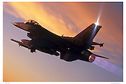 F-16C afterburner at sunset