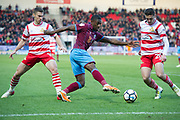 Scunthorpe United striker Hakeeb Adelakun (16) during the The FA Cup match between Doncaster Rovers and Scunthorpe United at the Keepmoat Stadium, Doncaster, England on 3 December 2017. Photo by Craig Zadoroznyj.
