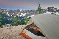 Backpacking tent on ridge above Cutthroat Pass, near Pacific Crest trail. North Cascades Washington