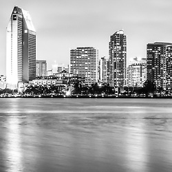 San Diego skyline panorama black and white picture. San Diego is a major city in Southern California in the United States. Panoramic photo ratio is 1:3. Image Copyright © 2012 Paul Velgos with All Rights Reserved.