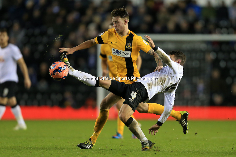3rd January 2015 - FA Cup - 3rd Round - Derby County v Southport - Charlie Joyce of Southport battles with Craig Bryson of Derby - Photo: Simon Stacpoole / Offside.