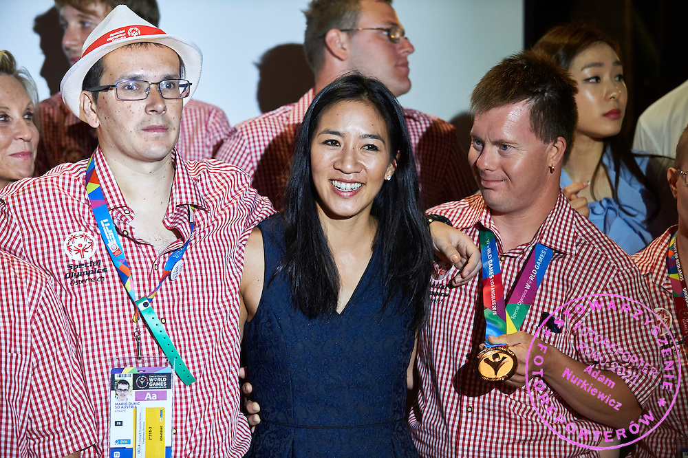SO Austria team and Michelle Kwan pose to team photo while Austria 2017 Reception during third day of the Special Olympics World Games Los Angeles 2015 on July 27, 2015 in Los Angeles, USA.<br /> USA, Los Angeles, July 27, 2015<br /> <br /> Picture also available in RAW (NEF) or TIFF format on special request.<br /> <br /> For editorial use only. Any commercial or promotional use requires permission.<br /> <br /> Adam Nurkiewicz declares that he has no rights to the image of people at the photographs of his authorship.<br /> <br /> Mandatory credit:<br /> Photo by &copy; Adam Nurkiewicz / Mediasport
