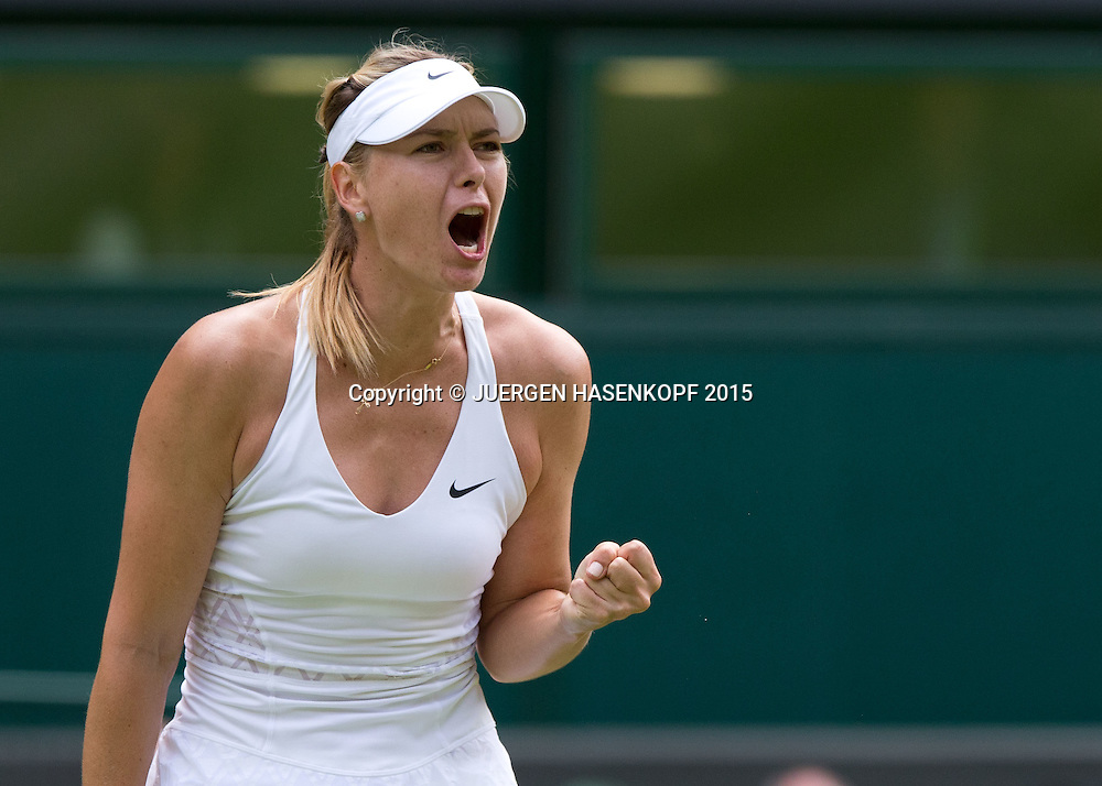 Maria Sharapova (RUS) macht die Faust und jubelt,Jubel,Emotion<br /> <br /> Tennis - Wimbledon 2015 - Grand Slam ITF / ATP / WTA -  AELTC - London -  - Great Britain  - 7 July 2015.