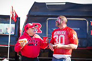 Andrew Kmiec (left) of Matawan, N.J., visits with Husker fan Michael Dejonge from Staten Island, N.Y., prior to Nebraska's 31-14 win against Rutgers at High Point Solutions Stadium, on Nov. 14, 2015. Photo by Aaron Babcock, Hail Varsity
