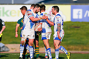 Workington Town  celebrate Workington Town hooker Sean Penkywicz (20) try  during the Ladbrokes Challenge Cup round 3 match between Hunslet Club Parkside and Workington Town at South Leeds Stadium, Leeds, United Kingdom on 24 February 2018. Picture by Simon Davies.