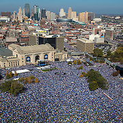 An estimated 800,000 Kansas City Royals fans crowded the space in front of Union Station downtown during Tuesday's Royal Celebration rally commemorating the Kansas City Royals' 2015 World Series championship.