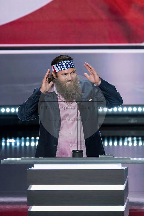 Willie Robertson, of reality show television show Duck Dynasty delivers remarks at the first day of the Republican National Convention at the Quicken Loans Center July 18, 2016 in Cleveland, Ohio.
