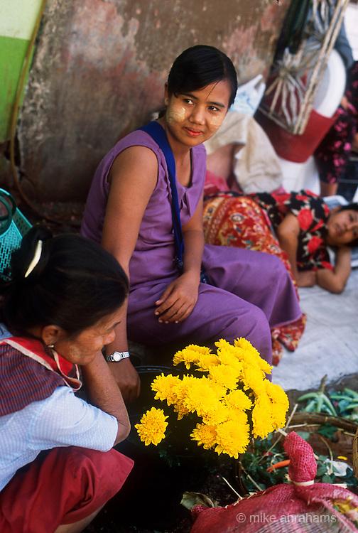 Flower seller at street maarket in Rangoon, Burma 2001