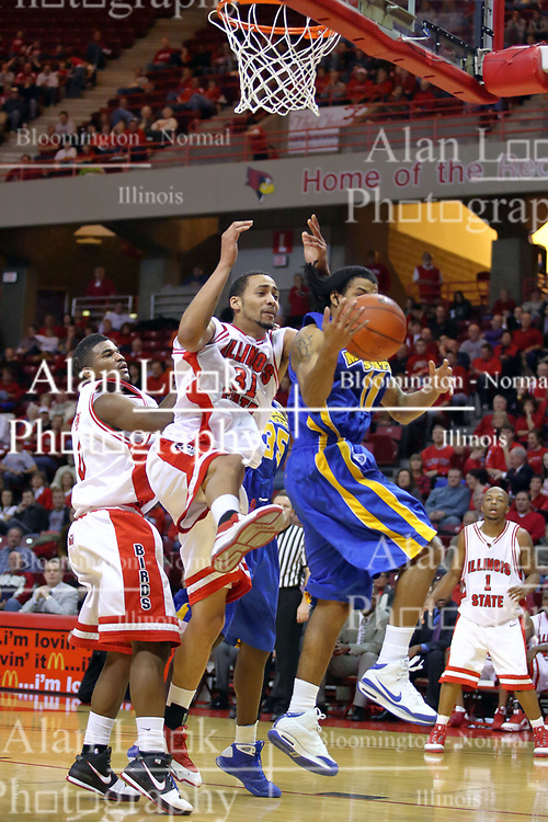 06 December 2008: Kellen Thornton is out positioned bur a rebound by Terrance Hill during a game where the  Illinois State University Redbirds extended their record to 9-0 with a 76-70 win over the Eagles of Morehead State on Doug Collins Court inside Redbird Arena on the campus of Illinois State University in Normal Illinois