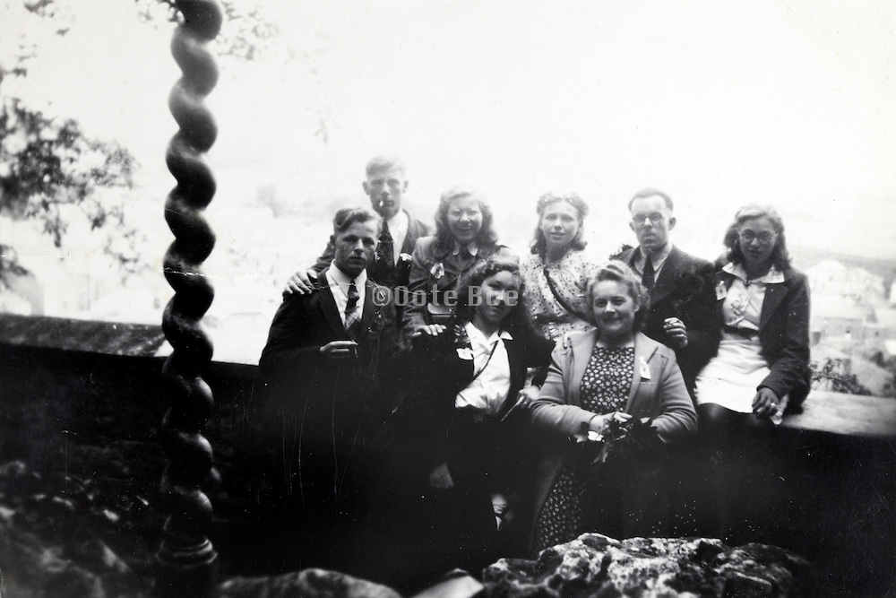 group of young adult together 1940s