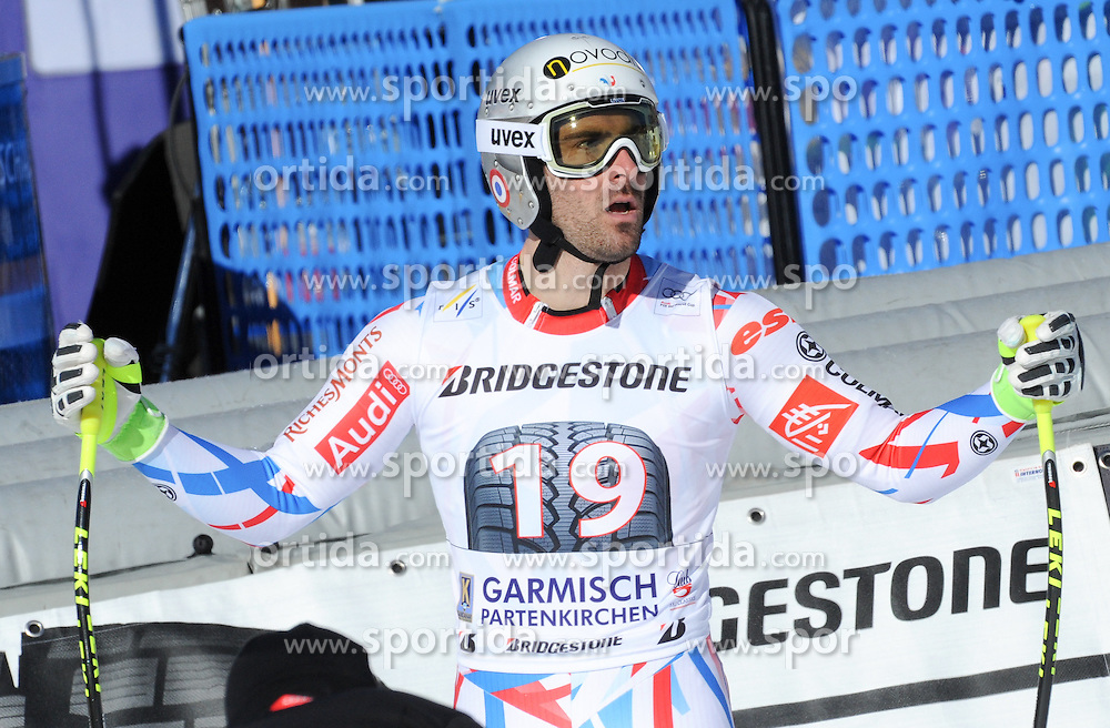 30.01.2016, Kandahar, Garmisch Partenkirchen, GER, FIS Weltcup Ski Alpin, Garmisch Partenkirchen, Abfahrt, Herren, im Bild Adrien Theaux (FRA) // Adrien Theaux of France reacts after his run of the men's Downhill of Garmisch FIS Ski Alpine World Cup at the Kandahar in Garmisch Partenkirchen, Germany on 2016/01/30. EXPA Pictures © 2016, PhotoCredit: EXPA/ Erich Spiess
