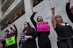 September 27, 2018 - Washington, District of Columbia, U.S. - Demonstrators against the Senate confirmation of Judge Kavanaugh in the Hart Senate Office Building on Capitol Hill. (Credit Image: © Alex Edelman/CNP via ZUMA Wire)