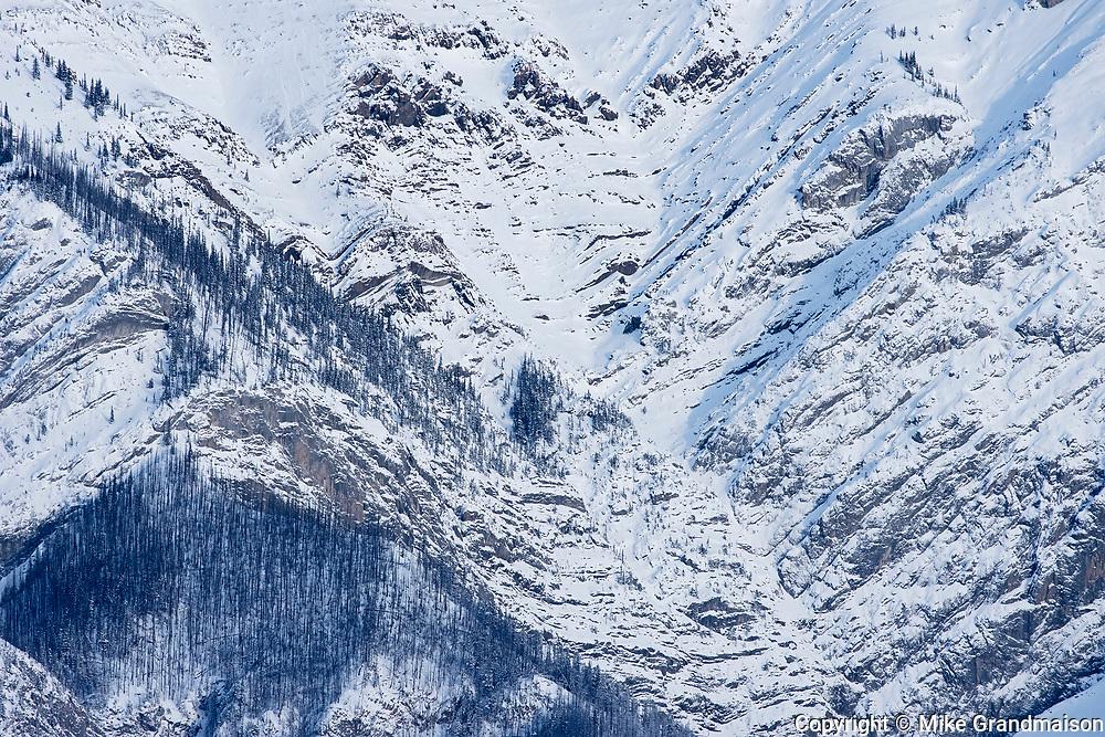 Detail of mountain peak, Jasper National Park, Alberta, Canada