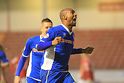 Calvin Andrew goal during the Sky Bet League 1 match between Walsall and Rochdale at the Banks's Stadium, Walsall, England on 2 January 2016. Photo by Daniel Youngs.