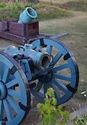 French mortars (artillery) Yorktown National Battlefield, Yorktown, Virginia. Final major battle of the American Revolution.