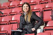 Sky Sports presenter, Bianca Westwood during the Sky Bet League 2 match between Northampton Town and Newport County at Sixfields Stadium, Northampton, England on 25 March 2016. Photo by Dennis Goodwin.