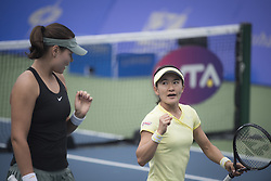 WUHAN, Sept. 27, 2018  Shuko Aoyama (R) of Japan and Lidziya Marozava of Russia celebrate scoring during doubles quarterfinal match against Timea Babos of Hungary and Kristina Mladenovic of France at the 2018 WTA Wuhan Open tennis tournament in Wuhan of central China's Hubei Province, on Sept. 27, 2018. Shuko Aoyama and Lidziya Marozava won 2-0. (Credit Image: © Xiao Yijiu/Xinhua via ZUMA Wire)