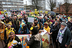 © Licensed to London News Pictures. 09/12/2016. Preston, UK. Hundreds of supporters and anti fracking protestors in Preston to support Tina Rothery who is due in Preston Combined Court for sentencing after being found guilty of contempt of court. Prominent anti-fracking campaigner, Tina Rothery, refused to pay legal fees amounting to more than £55,000 in a dispute with the shale gas company, Cuadrilla. In August 2014, Cuadrilla took legal action to evict anti-fracking campaigners camping in a field near Blackpool that was being considered for shale gas exploration. Photo credit : Ian Hinchliffe/LNP