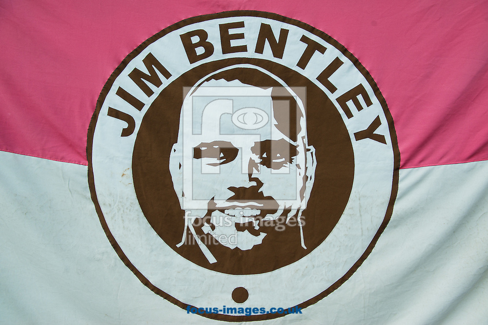 Morecambe manager Jim Bentley is pictured on a flag prior to the first round FA Cup match at the Globe Arena, Morecambe<br /> Picture by Matt Wilkinson/Focus Images Ltd 07814 960751<br /> 06/11/2016