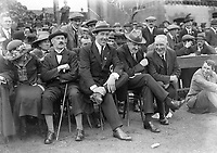 Second from left to right: Eamon Duggan, Harry Boland, Michael Collins and James Nowlan(President of the GAA) attend a match in Croke Park, 1921. (Part of the Independent Newspapers Ireland/NLI Collection)